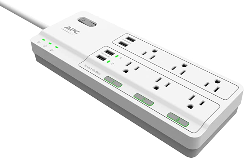 APC Smart Plug Wifi Power Strip with USB Ports, PH6U4X32W, 3 Smart Plugs that Work with Alexa, 6 Outlets Total, 2160 Joule Surge Protector, No Hub Required White