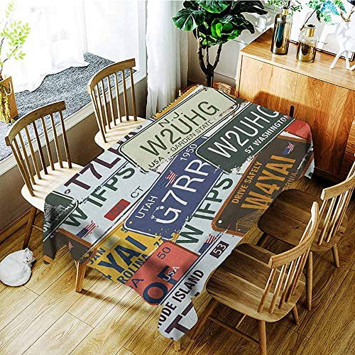 - XXANS Large Rectangular Tablecloth,Vintage,Original Retro License Plates Personalized Creative Travel Collections Art,Fashions Rectangular,W54x72L Green Blue Yellow