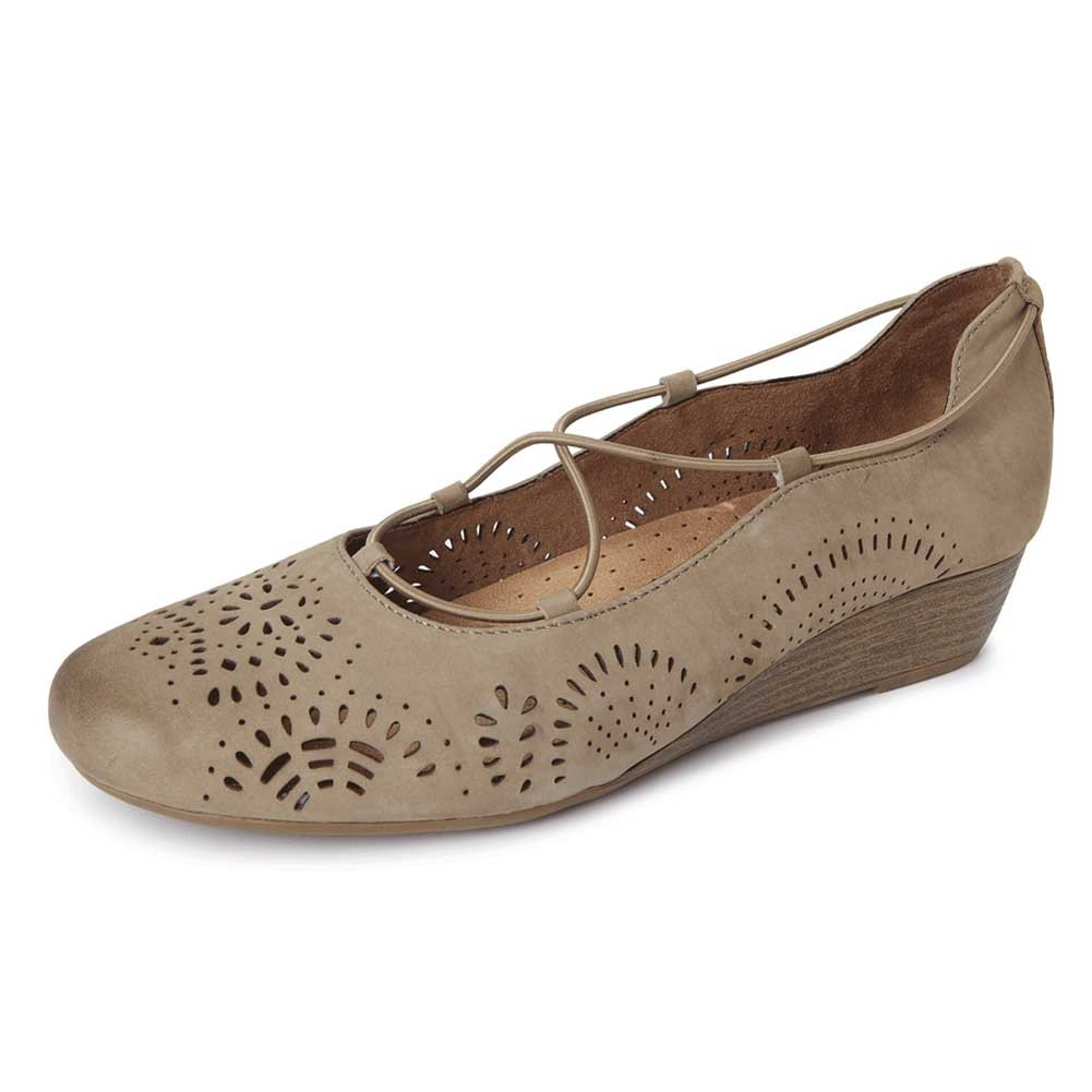 Rockport Cobb Hill Collection Womens Judson Leather Round Toe Wedge Khaki