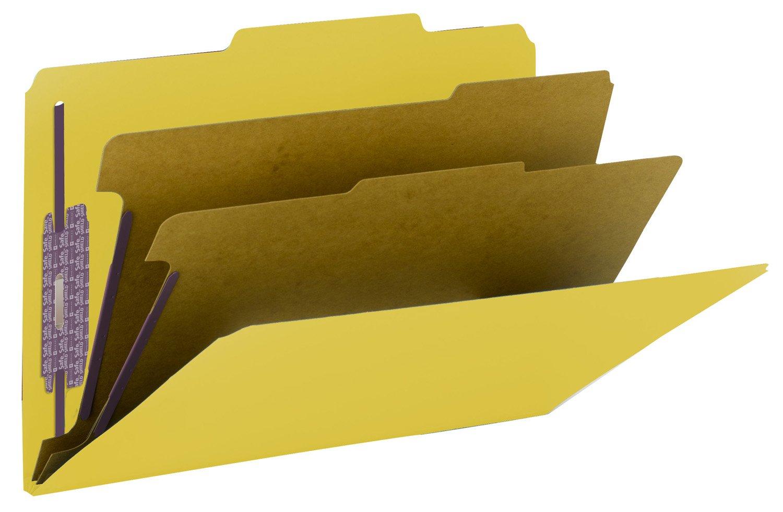 Gelb Smead Ordnungsmappe aus Pressspan, mit SafeSHIELD®-Verschlüssen, 2 Trennblätter, 5,1 cm Erweiterung, legale Größe, dunkelblau, 10 Stück pro Box (19200) Legal gelb