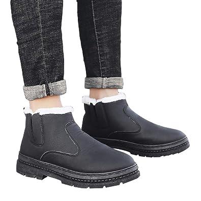 b1190e37bf711 Amazon.com: Fheaven Men's Winter Thicken Snow Boots Ankle Boots ...