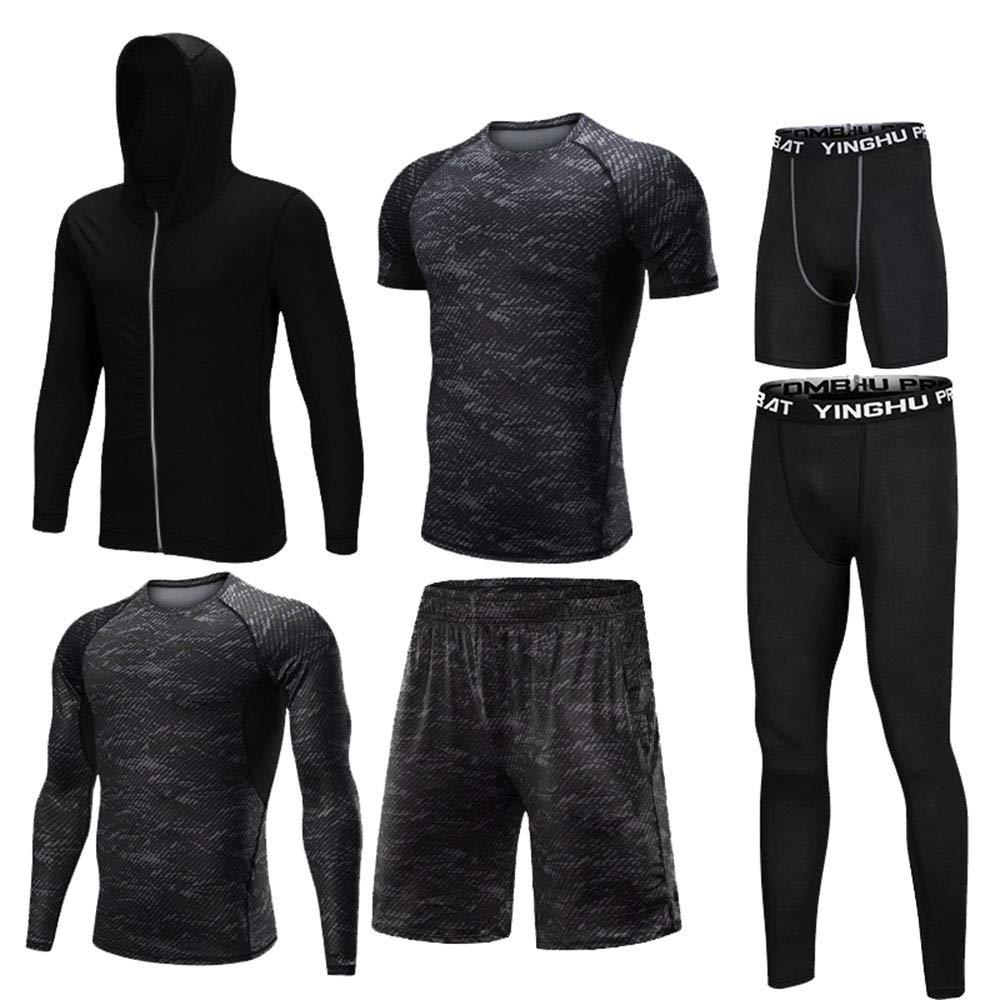 Gym Wear Fitness Bekleidung Set Herren 6-tlg. Basisschicht-Kompressionsset mit Outwear, Compression-Langarmhemd, Kompressionshose, Kompressions-Kurzarm-T-Shirt, Lose Shorts, Kompressionshose