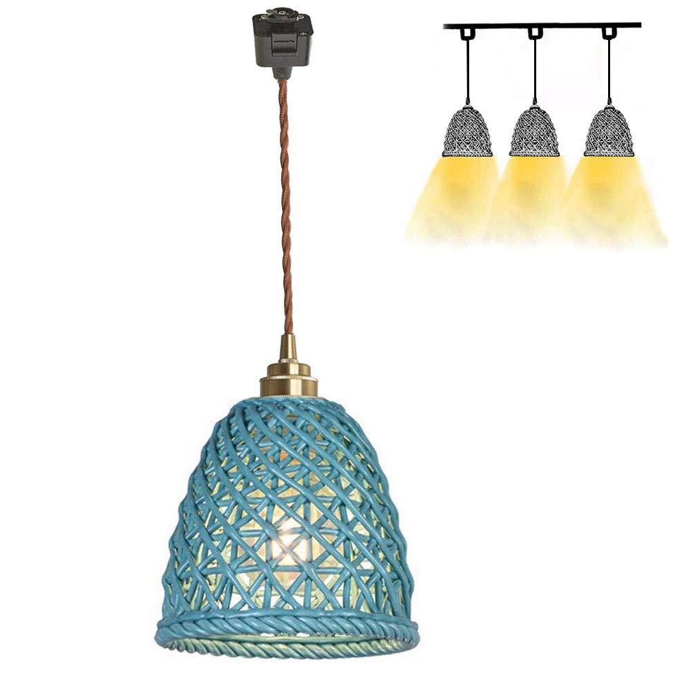 Kiven H-Type Track Pendant Lighting One-Light,6.7'' Blue Ceramic Shade Track Mount Hanging Lamp