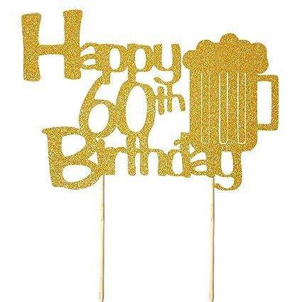 NN-BH - Decoración para tarta de 60 cumpleaños (copa de ...