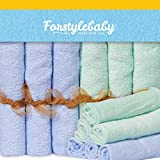 Forstylebaby Organic Bamboo Baby Washcloths - EXTRA LARGE 12'' x 12'' Size with Hanging Loop - Dual-Sided - Ultra Soft - Safe for Sensitive Skin - Beautiful Baby Shower Gift Box (6 Pack, Blue & Green)