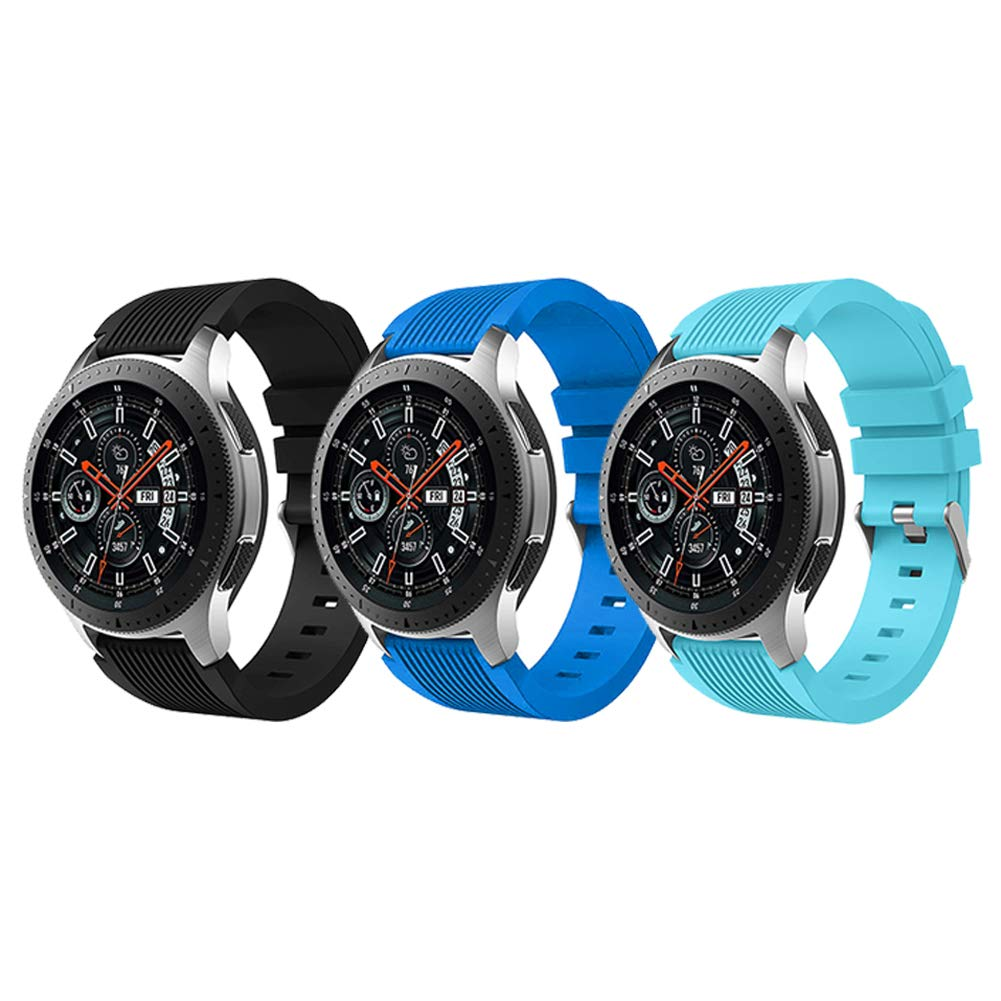 HMJ Band Compatible Samsung Galaxy Watch 46mm, Soft Silicone 22mm Replacement Bands Wrist Strap Bracelet Fit Samsung Gear S3 Classic/Frontier/Moto 360 ...