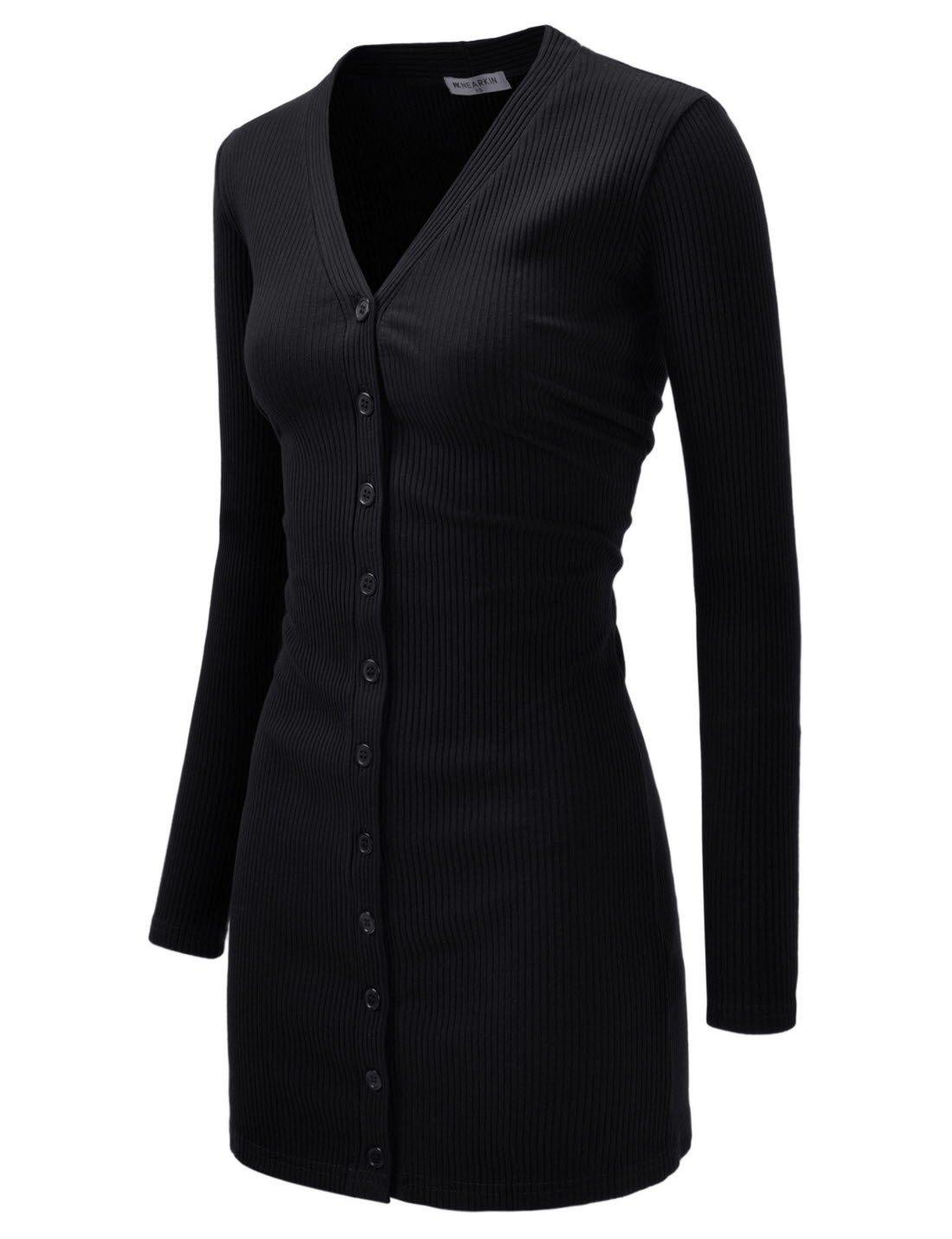 NEARKIN (NKNKWBC793) Womens Slim Cut Look Stripe Pattern Button Up Dress Long Cardigan BLACK US M(Tag size L)