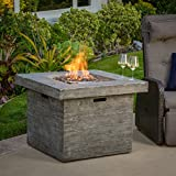 Vermont Outdoor 32-inch Square Liquid Propane Fire Pit with Lava Rocks