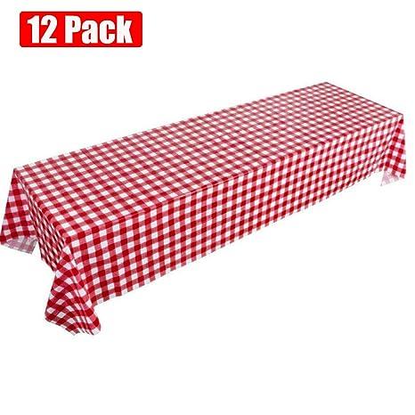 Amazon.com: Mantel de pícnic, rojo, a cuadros, desechable ...