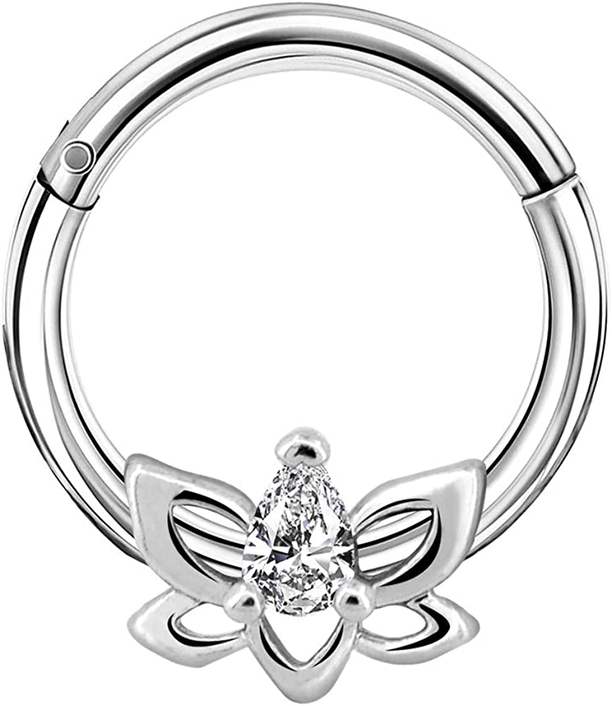 COCHARM Hinged Segment Rings 16G Daith Piercing Rings Lotus Flower with Clear CZ Hinged Clicker Piercing Hoop