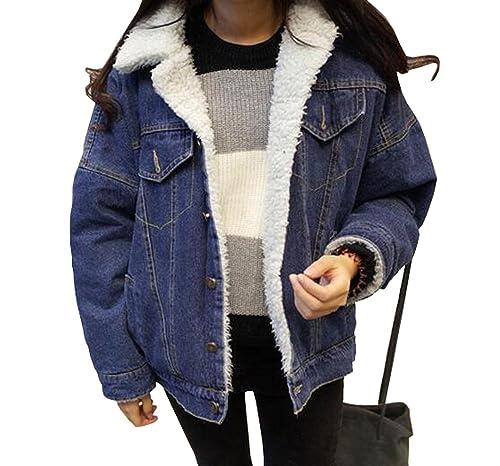 Mujer invierno caliente espesado corderos lana Denim chaqueta de algodón clásico acolchado corto abrigo