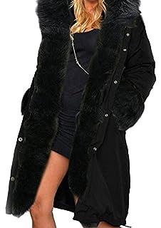 BLACKMYTH Invierno Cálido Largo Capa Mujer Capucha Pelo Chaqueta Parka Outwear
