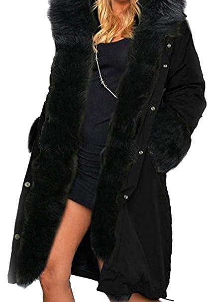 BLACKMYTH Invierno Cálido Largo Capa Mujer Capucha Pelo Chaqueta Parka Outwear Negro Small