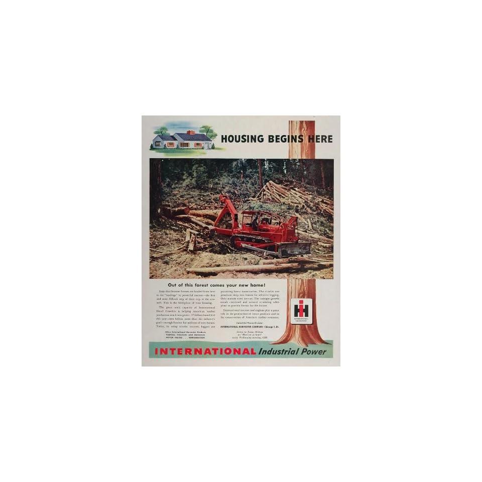 1948 Ad International Harvester Tractor Logging Forest   Original Print Ad