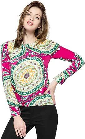 قميص شيفون للنساء مطبوع عليه ورود وباكمام طويلة وقبة دائرية