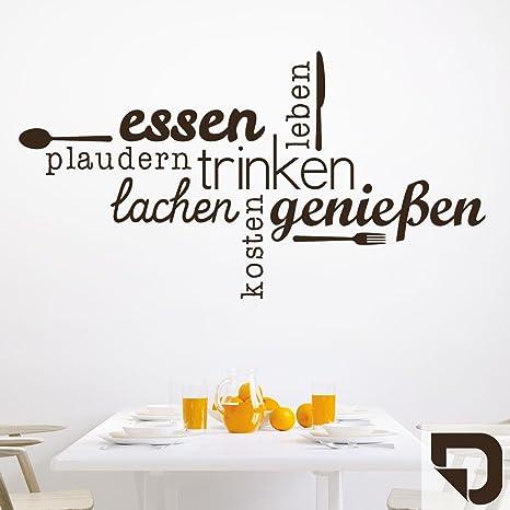 DESIGNSCAPE® Wandtattoo Essen Trinken Genießen | Wandtattoo Küche Esszimmer  140 x 75 cm (Breite x Höhe) braun DW803463-L-F9