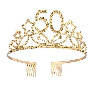Beaupretty Corona Cumpleaños 50 Años Diadema Cumpleaños Tiara Cristal con Peineta para Mujeres (Dorado)