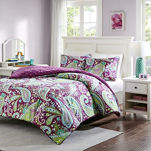 Intelligent Design Melissa Twin Size Bed Comforter Set - Purple, Green, Cold Weather Reversible Paisley, Geometric Diamond – 2 Pieces Bedding Sets – Ultra Soft Microfiber, Faux Fur Bedroom ()