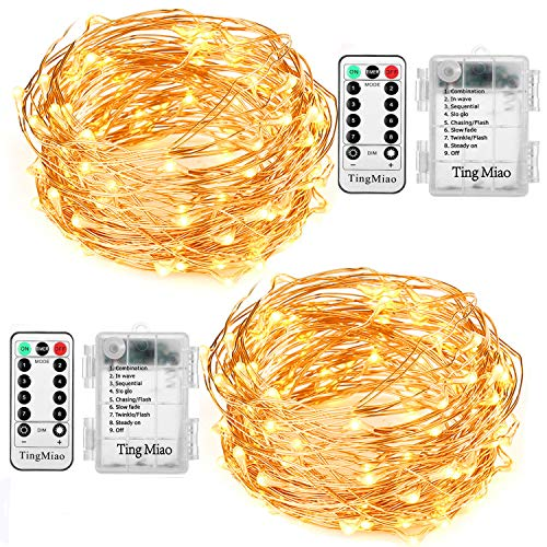 TingMiao 2 Pack 33 Feet 100 Led Fairy Lights Battery Operated with Remote Control Waterproof Copper Wire String Lights for Indoor Decorative Lights ,Warm White