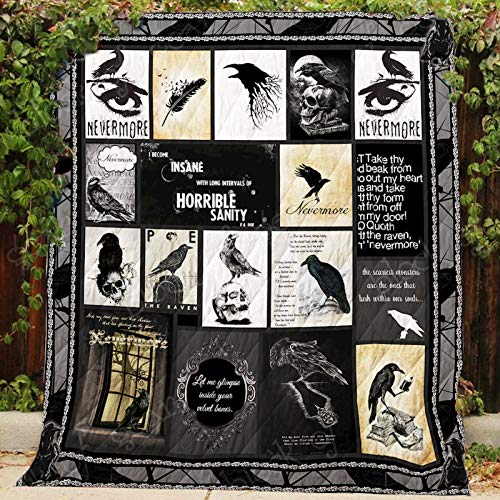 The Raven Nevermore Quilt P455, Queen All-Season Quilts Comforters with Reversible Cotton King/Queen/Twin Size - Best Decorative Quilts-Unique Quilted for Gifts (Nevermore The Best Of Raven)