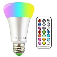 Foco LED RGBW, Bombilla OIOSEN 10W E26, 12 distintos colores que cambian la iluminación, regulables con control remoto para la decoración del hogar, escenario, bar, fiesta y más