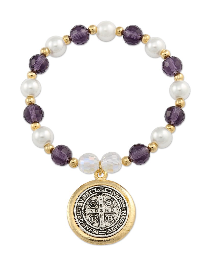 Catholica Shop Catholic Religious Wear Saint Benedict Medal Stretchable Bracelet With Gold Plated Glass Simulated and Pearl Beads