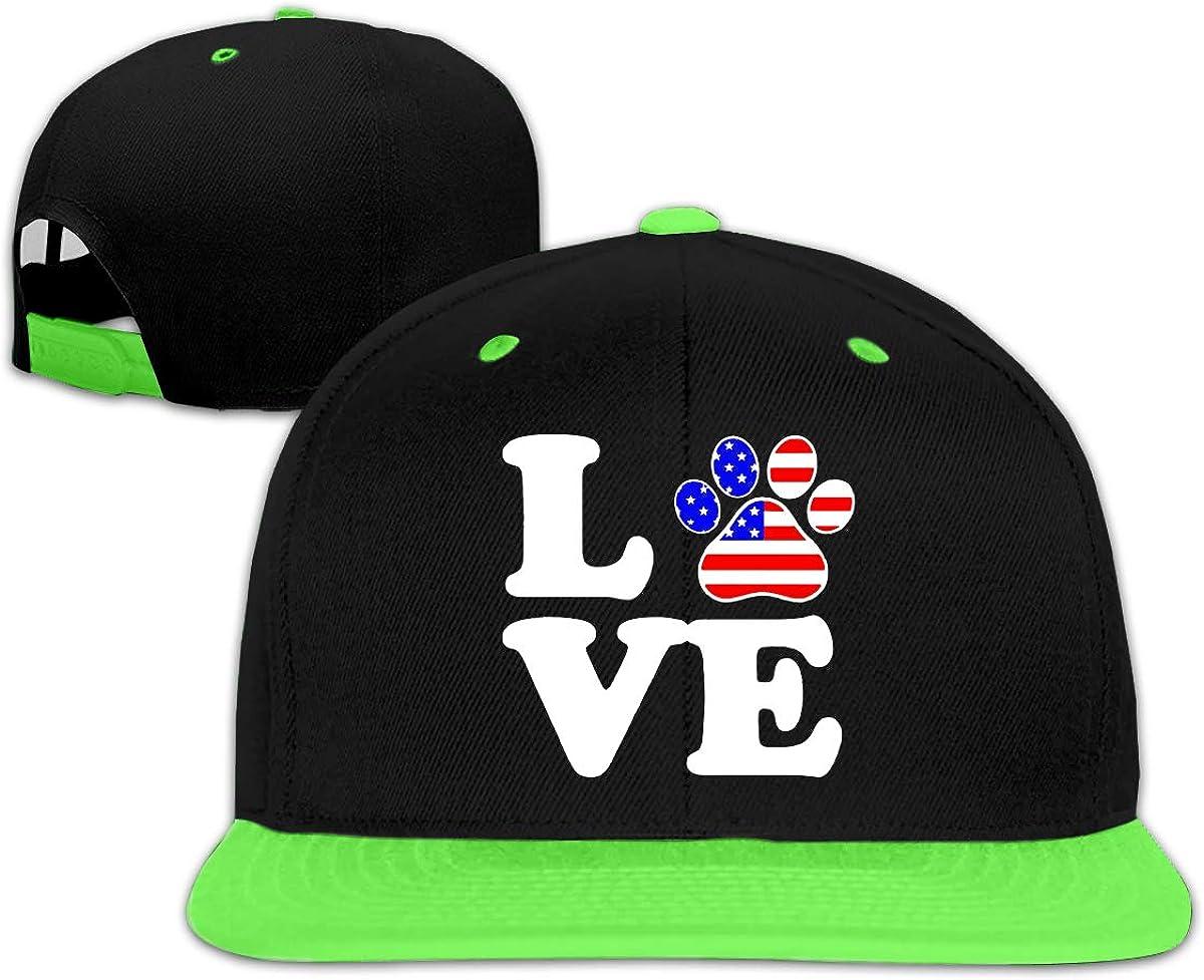 Kids Boys/&Girls Love Animal Paw American Flag Baseball Caps Snapback Hip-Hop Cap Hats