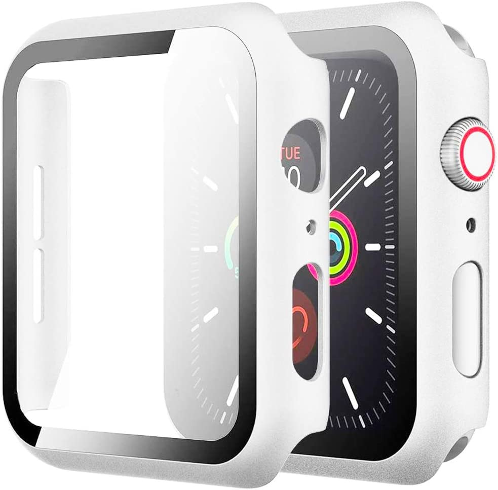 Zuslab Compatible with Apple Watch Series 6/5 /4 /SE 40mm Case with Screen Protector Accessories Slim Guard Thin Bumper Full Coverage Matte Hard Cover Defense Edge for Women Men - White