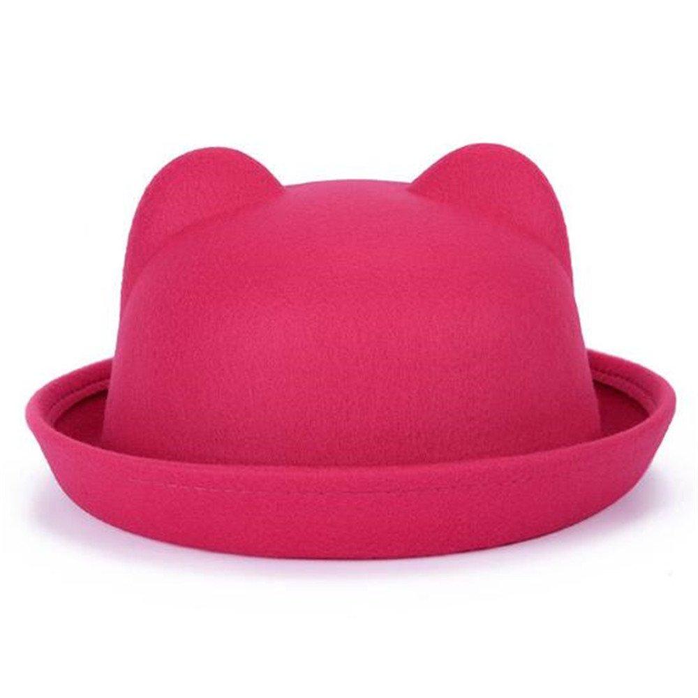 YSTR Women's Plain Wool Felt Cat Ear Roll-up Hat Fedora Bowler Cap