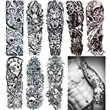 18.9x6.7'' 8 Sheets Extra Large Temporary Fake Tattoos Set For Men and Women, Full Arm Tattoo Sticker Skull Flower Paper Decal Fake Tattoos Sleeve DIY Black Body Art Sticker, Black 1