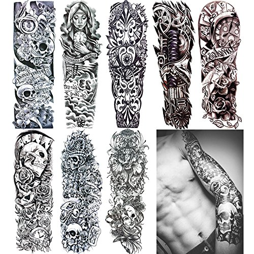 18.9x6.7 8 Sheets Extra Large Temporary Fake Tattoos Set for Men and Women, Full Arm Tattoo Sticker Skull Flower Paper Decal Fake Tattoos Sleeve DIY Black Body Art Sticker, Black 1]()