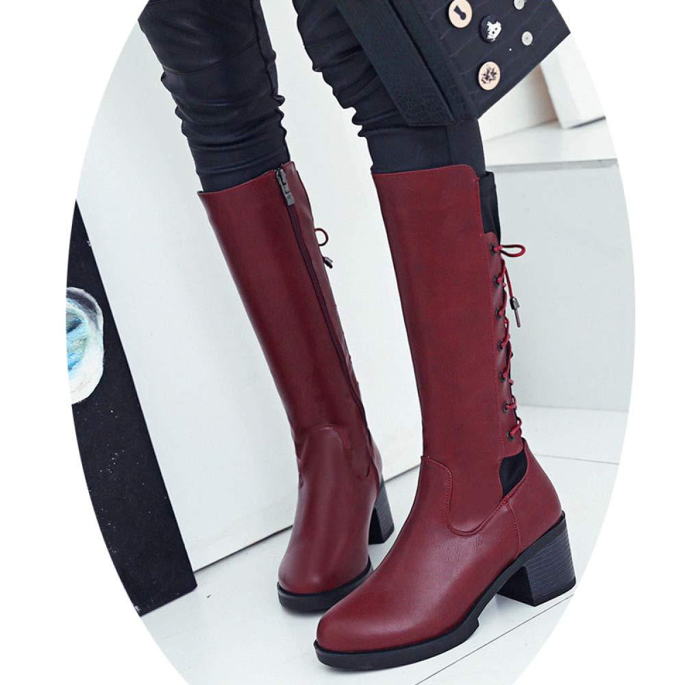 XQY Stiefel Für Damen Herbst Und Winter Große Flache Schuhe Mit Hochhackigen Schnürstiefeln Sexy Warme Modestiefel Stiefel Für Damen Mit Breitem Kalb