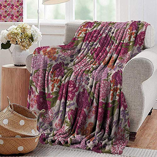 PearlRolan Flannel Throw Blanket,Shabby Chic,Peonies BlackBerry and Wild Flowers in Vintage Style Colorful Nature Theme,Multicolor,Winter Luxury Plush Microfiber Fabric 60