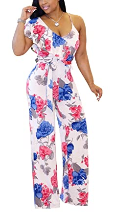 438e370e9 Aro Lora Women's Sexy Sleeveless Floral Print Ruffle One Piece Wide Leg Jumpsuits  Rompers Small White