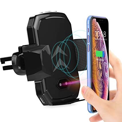 Fatmoon Automatic Clamping Car Phone Mount Wireless Charger Adjustable Gravity Air Vent Phone Holder Compatible Samsung Galaxy S9 S9 Plus S8 5 & ...