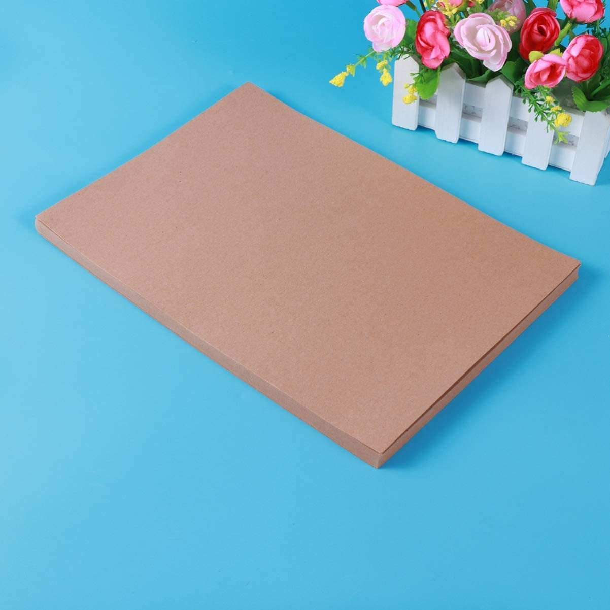 Healifty 50 Sheets Brown Kraft Paper A4 Flower Bouquet Sleeves DIY Gift Wrapping Paper Packaging Paper Table Cover for Store Craft Present DIY Wedding Party Decorations