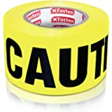 XFasten Caution Tape Roll, Non Adhesive, 3-Inch x 1000-Foot Yellow Black Barricade Safety Tape- High Visibility for Workplace