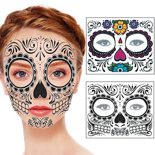 Spdoo 2 Pack Kit Day of the Dead Sugar Skull Temporary Face Tattoo Kit: Men or Women