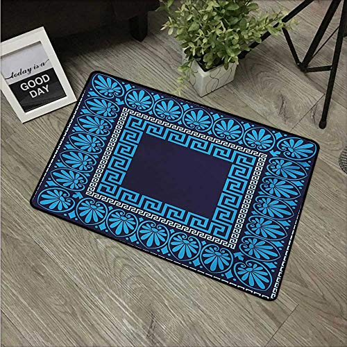 HRoomDecor Greek Key,Custom Door mats Grecian Meandros Pattern with Intricate Lines Floral Figures in Blue Shades W 16