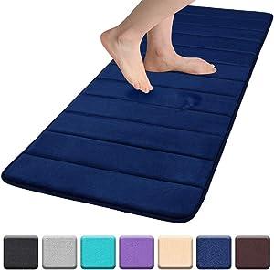 "Colorxy Memory Foam Bath Mat - Soft & Absorbent Bathroom Rugs Non Slip Large Bath Rug Runner for Kitchen Bathroom Floors 24""x70"", Navy Blue"