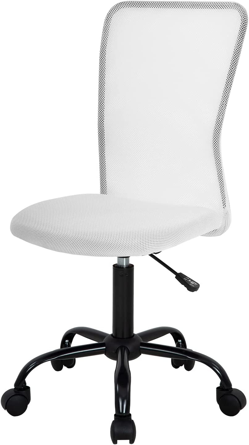 Home Office Chair Mid Back Mesh Desk Chair Armless Computer Chair Ergonomic Task Rolling Swivel Chair Back Support Adjustable Modern Chair with Lumbar Support (White)