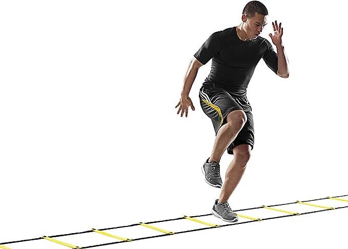 Escalera de agilidad con 12 peldaños ajustables, longitud de 6 metros, duradera, herramienta de entrenamiento multideportivo, ideal para mejorar la agilidad, para fútbol soccer, entrenamiento de velocidad, incluye bolsa de transporte: Amazon.es: