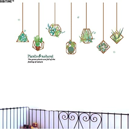 789d33c88 BIBITIME Natural Plants Wall Decal Vinyl Hanging Succulent Plant Cactus Flower  Peel and Stick Decor Stickers