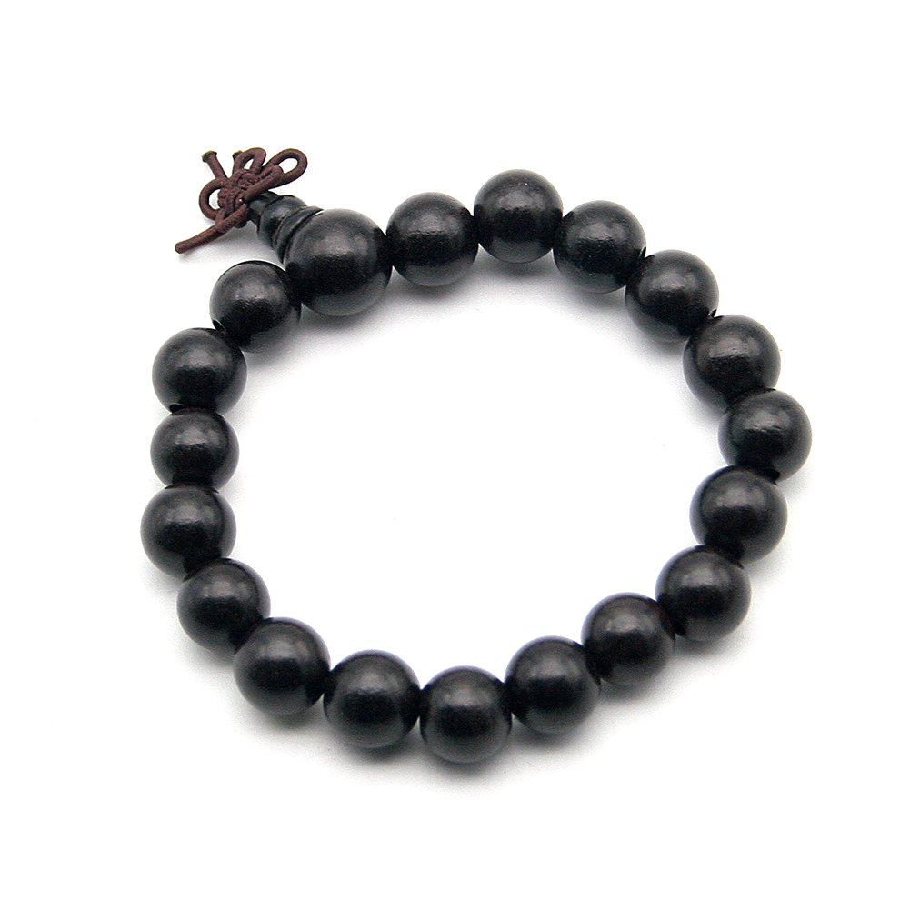 Beautiful Bead Genuine Ebony Wood Buddhist Prayer Bead Bracelet Meditation Mala Black