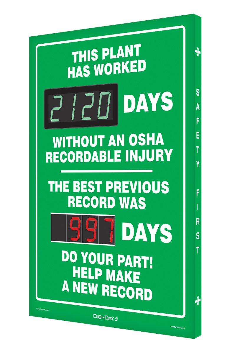 SCK120 Digi-Day2 Electronic Scoreboard,''THIS PLANT HAS WORKED DAYS W/O AN OSHA RECORDABLE INJURY - THE BEST PREVIOUS RECORD WAS DAYS - DO YOUR PART! HELP MAKE A NEW RECORD''