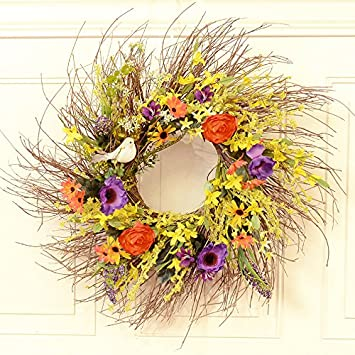 Wispy Summer Garden Wreath With Bird WR4968