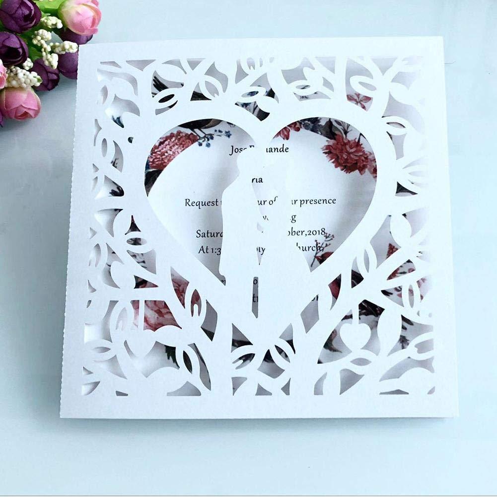 Jianghui 10pcs Laser Hollow Groom Bride European Invitation