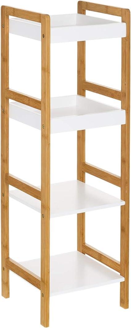 Estantería de 4 baldas nórdica Blanca de bambú para cuerto de baño Basic - LOLAhome