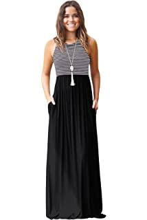 60f3759dd95 JYUAN Womens Summer Sleeveless Crew Neck Casual Striped Maxi Dress Tank Long  Maxi Dress with Pockets