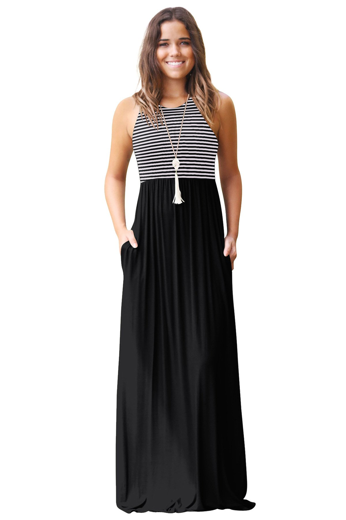 JOXJOZ Women's Sleeveless Racerback Loose Striped Maxi Dresses Casual Long Party Dresses with Pockets (Black, S)